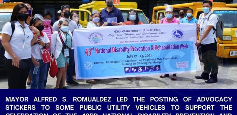 Mayor Alfred Romualdez leads posting of advocacy stickers to public utility vehicles