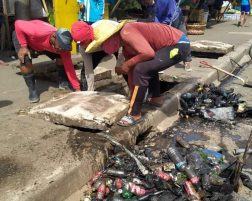 Almost a truckload of plastic bottles clogged up the drainage at Tacloban Supermarket